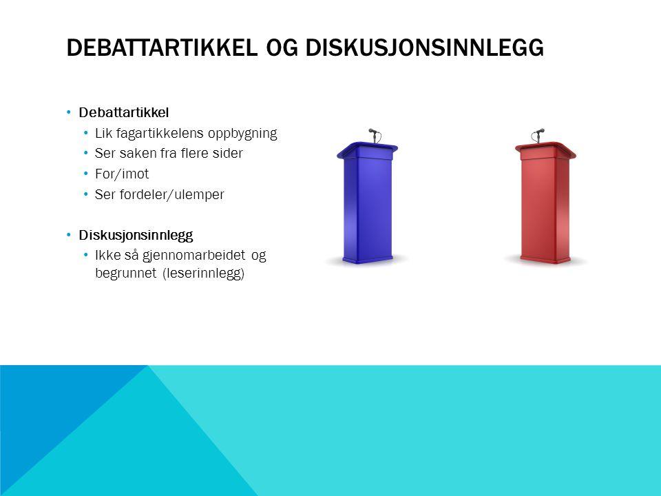 Debattartikkel og diskusjonsinnlegg