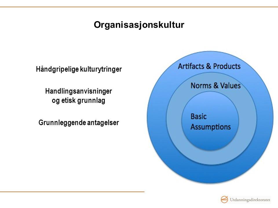 Organisasjonskultur Håndgripelige kulturytringer Handlingsanvisninger og etisk grunnlag Grunnleggende antagelser