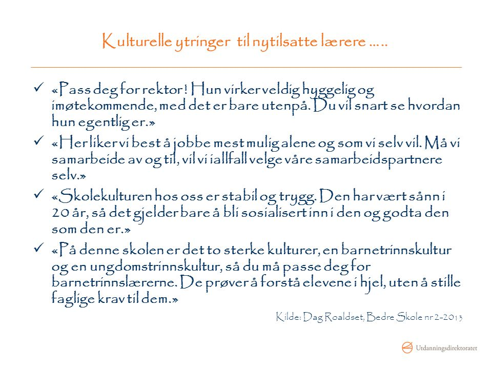 Kulturelle ytringer til nytilsatte lærere …..