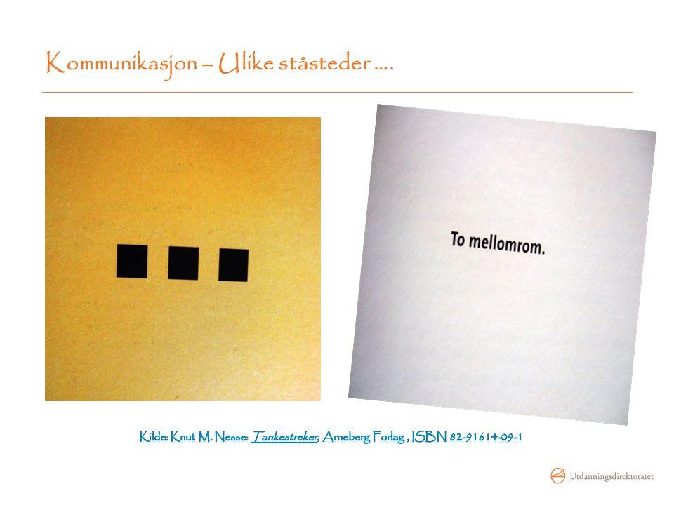 Kommunikasjon – Ulike ståsteder ….
