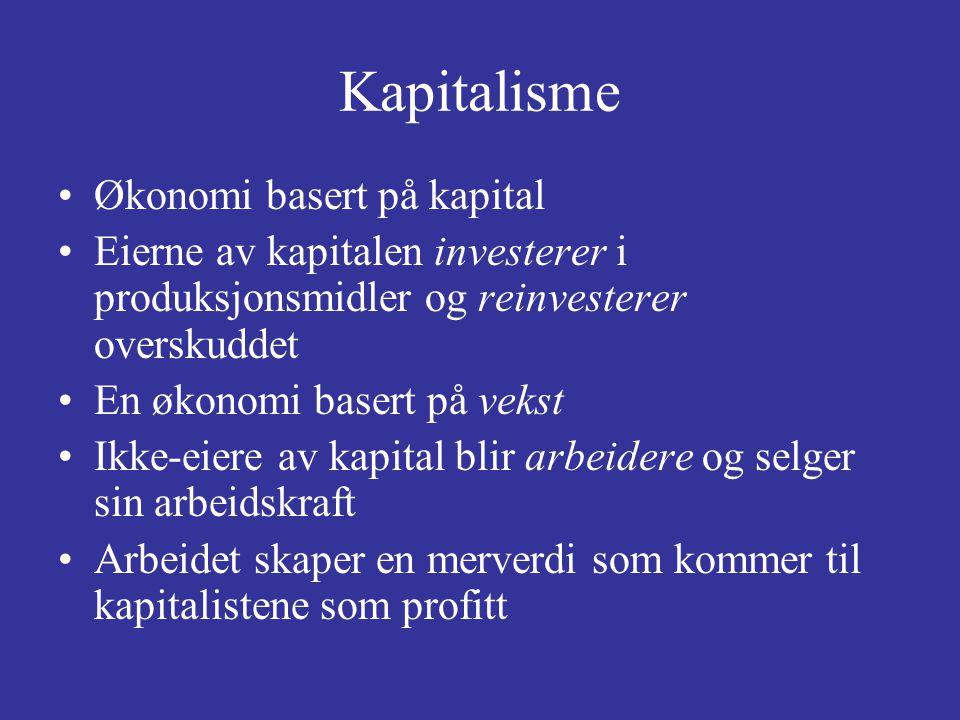 Kapitalisme Økonomi basert på kapital