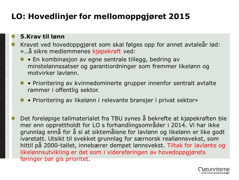 LO: Hovedlinjer for mellomoppgjøret 2015