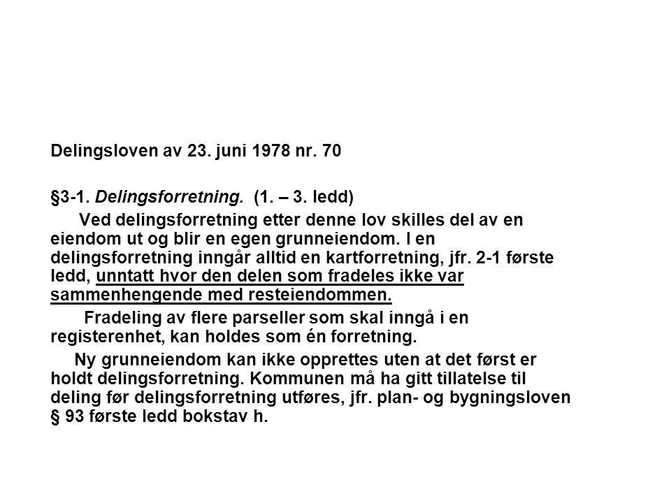 Delingsloven av 23. juni 1978 nr. 70