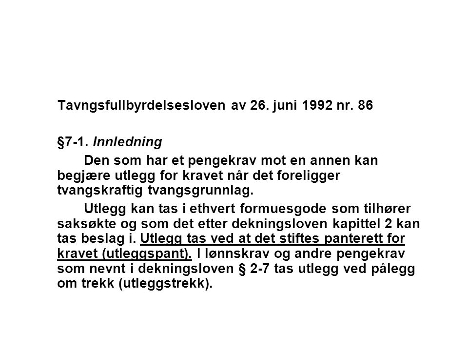 Tavngsfullbyrdelsesloven av 26. juni 1992 nr. 86