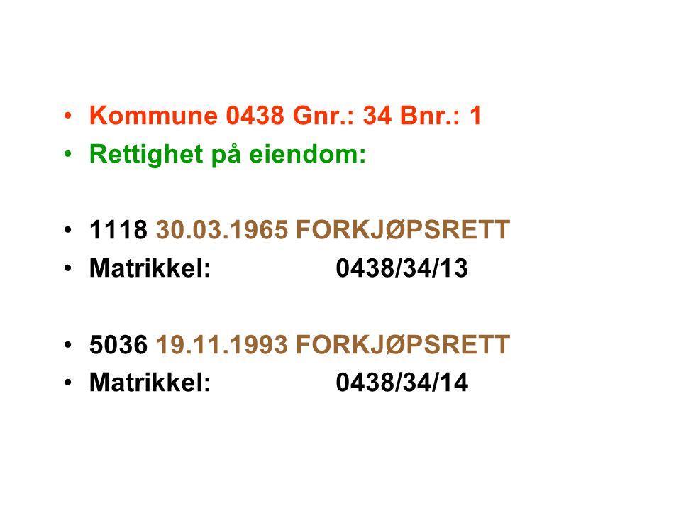 Kommune 0438 Gnr.: 34 Bnr.: 1 Rettighet på eiendom: 1118 30.03.1965 FORKJØPSRETT. Matrikkel: 0438/34/13.