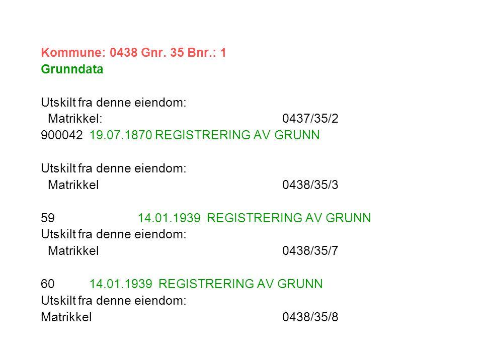 Kommune: 0438 Gnr. 35 Bnr.: 1 Grunndata. Utskilt fra denne eiendom: Matrikkel: 0437/35/2. 900042 19.07.1870 REGISTRERING AV GRUNN.
