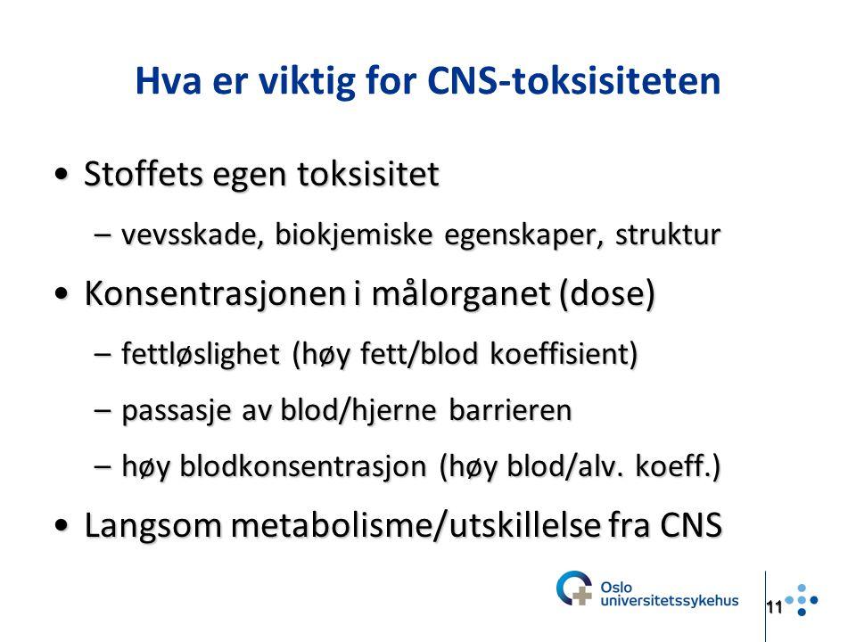 Hva er viktig for CNS-toksisiteten