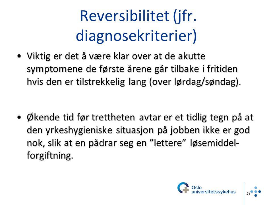 Reversibilitet (jfr. diagnosekriterier)