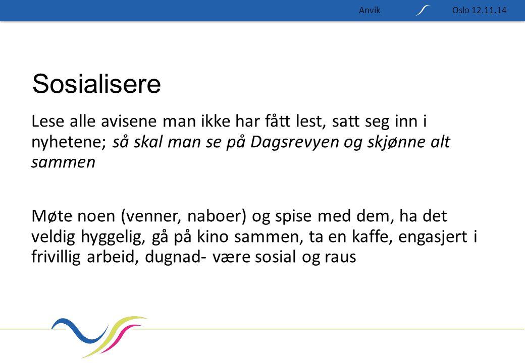 Anvik Oslo 12.11.14. Sosialisere.