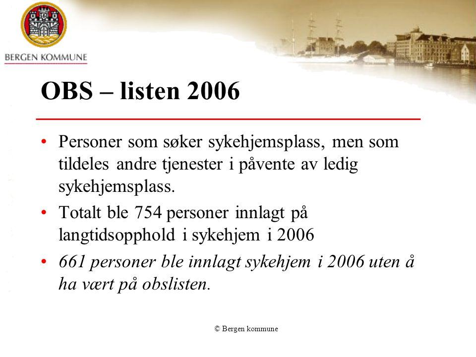 Dekningsgrad institusjoner Bergen - andre kommuner: