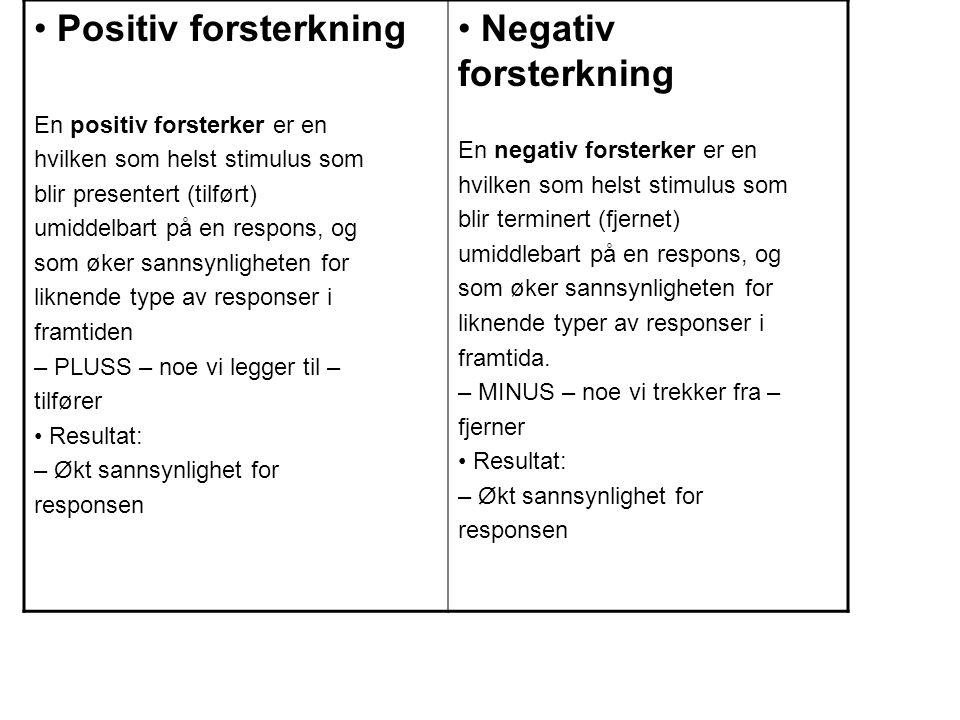 • Positiv forsterkning • Negativ forsterkning