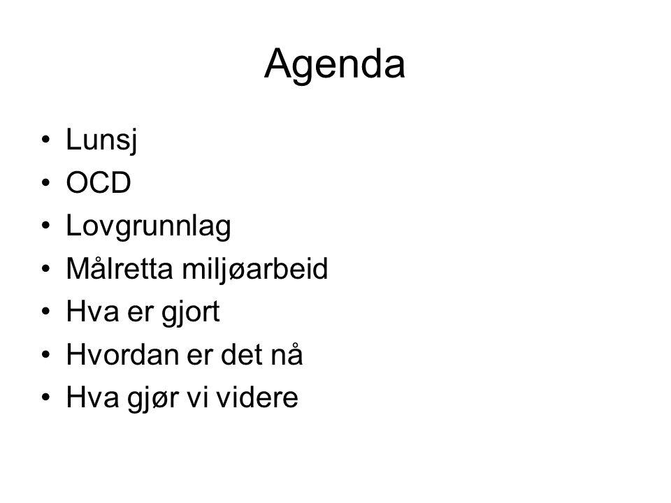 Agenda Lunsj OCD Lovgrunnlag Målretta miljøarbeid Hva er gjort