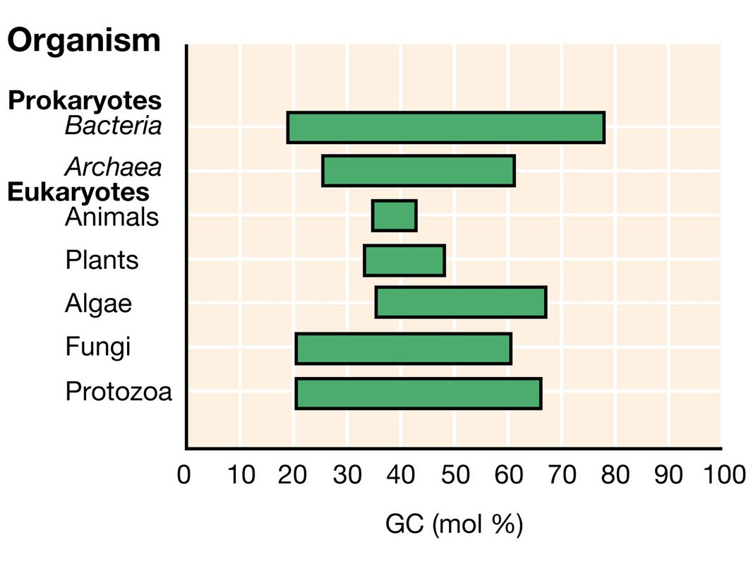 Figure: 11-18 Caption: Ranges of DNA base composition of various organisms.