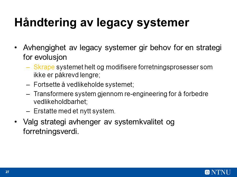 Håndtering av legacy systemer
