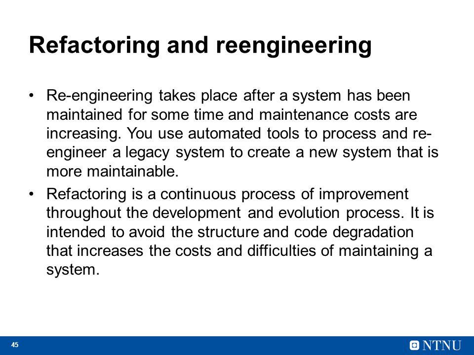 Refactoring and reengineering