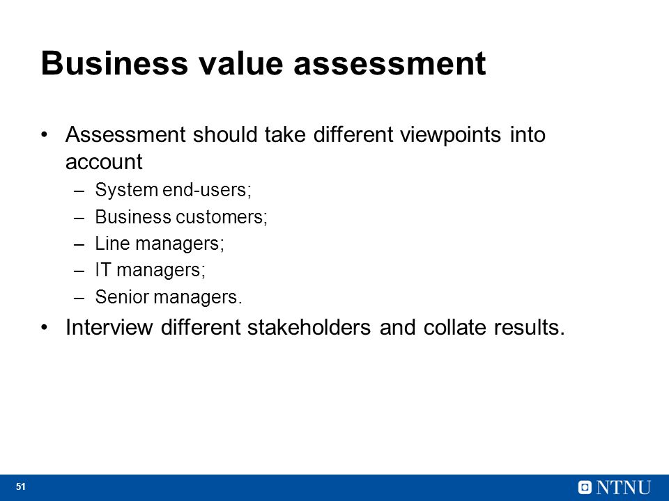Business value assessment