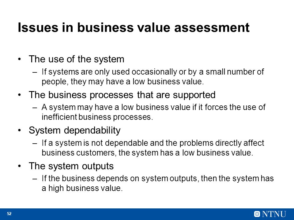 Issues in business value assessment