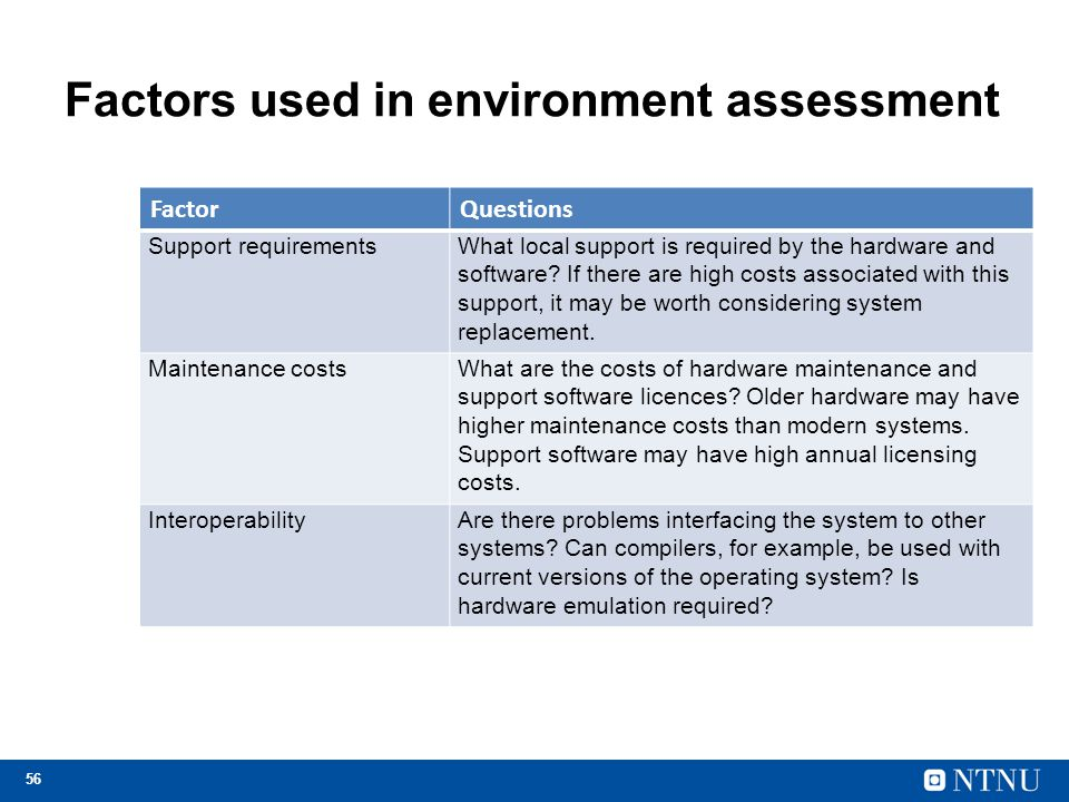 Factors used in environment assessment
