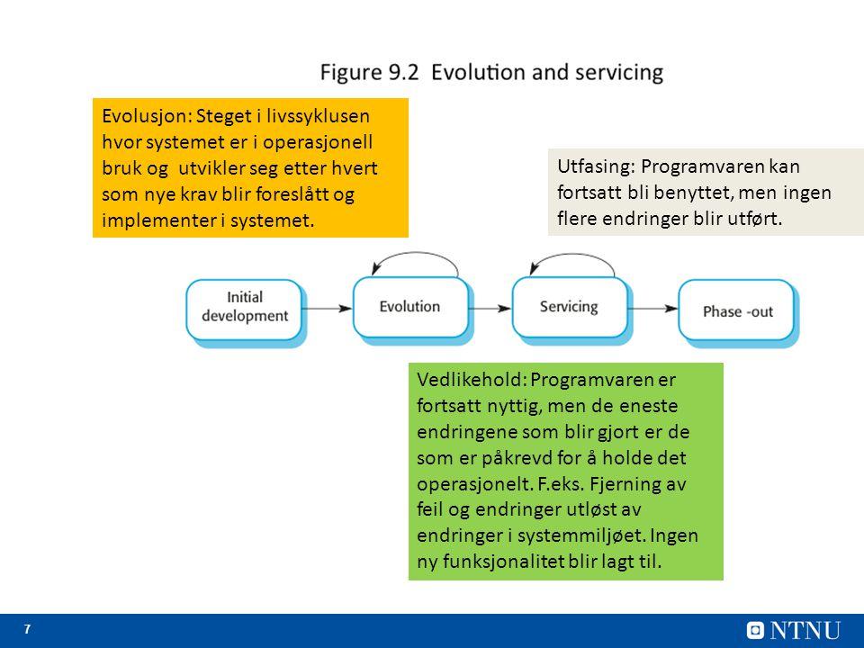Evolusjon: Steget i livssyklusen hvor systemet er i operasjonell bruk og utvikler seg etter hvert som nye krav blir foreslått og implementer i systemet.