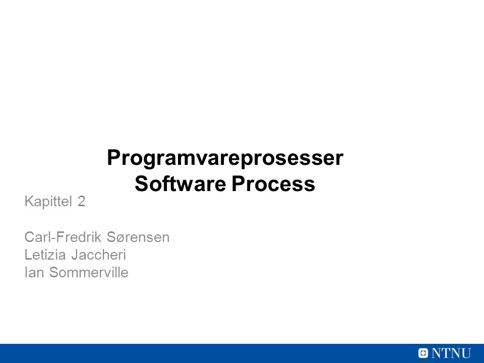 Programvareprosesser Software Process