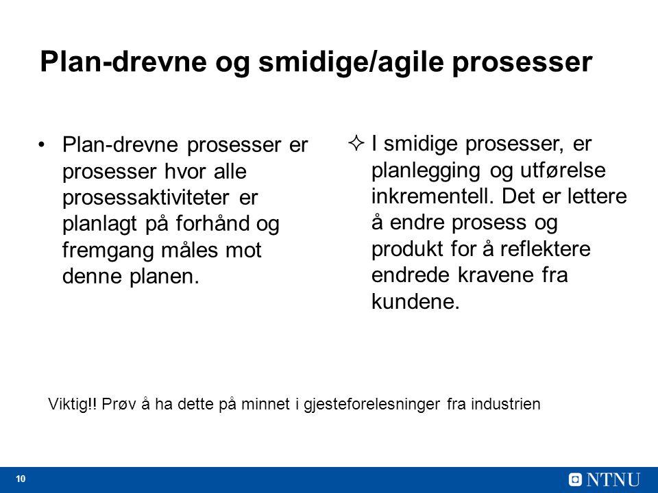 Plan-drevne og smidige/agile prosesser
