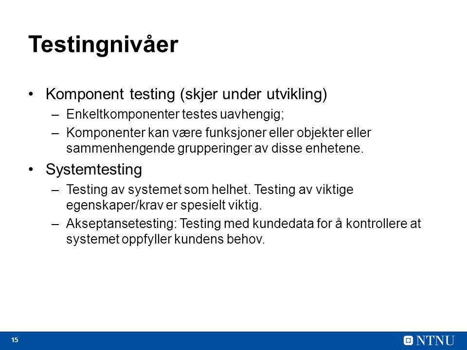 Testingnivåer Komponent testing (skjer under utvikling) Systemtesting