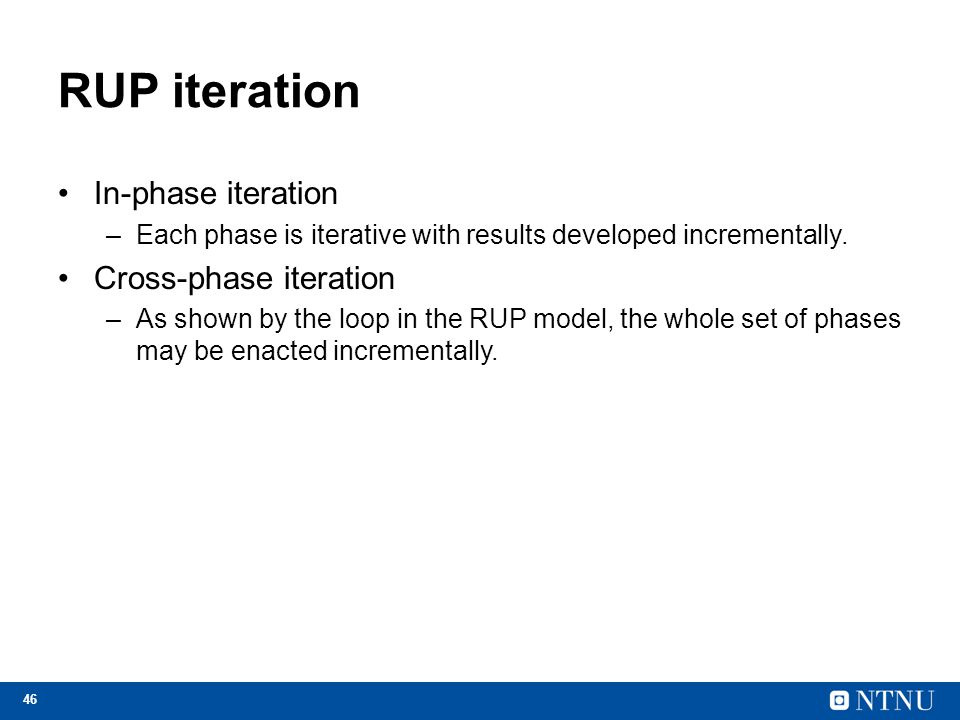 RUP iteration In-phase iteration Cross-phase iteration