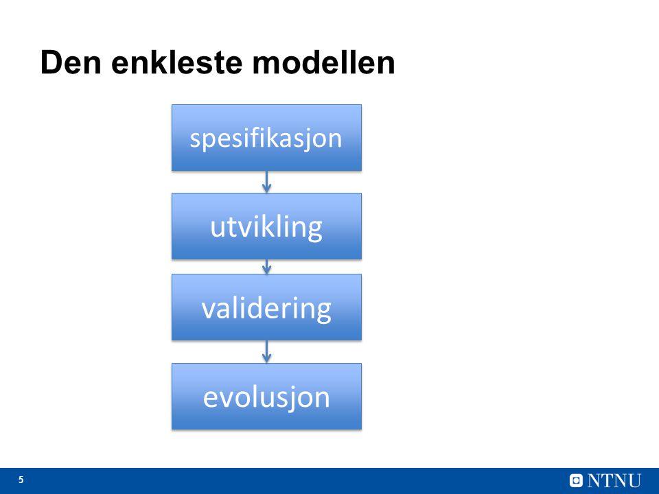 Den enkleste modellen utvikling validering evolusjon spesifikasjon
