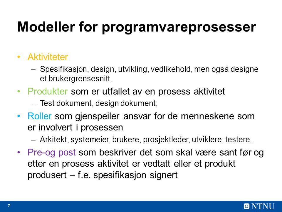 Modeller for programvareprosesser
