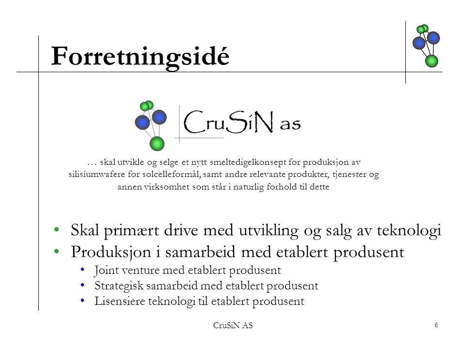 Forretningsidé Skal primært drive med utvikling og salg av teknologi