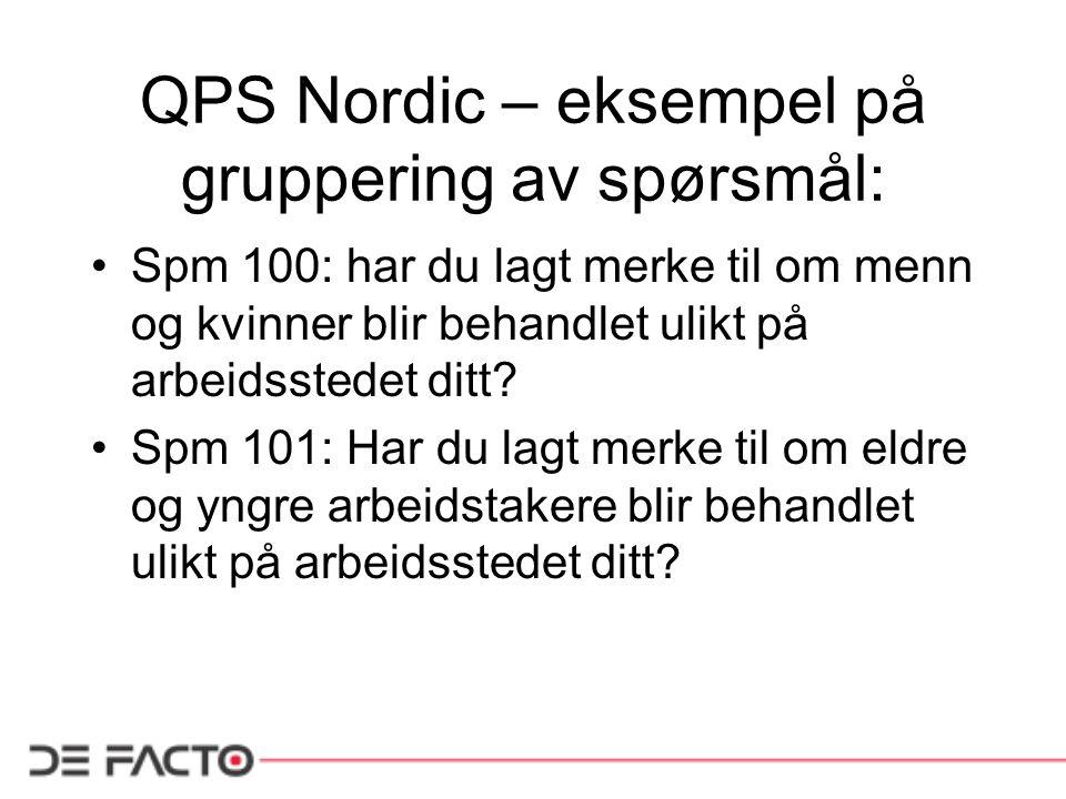 QPS Nordic – eksempel på gruppering av spørsmål: