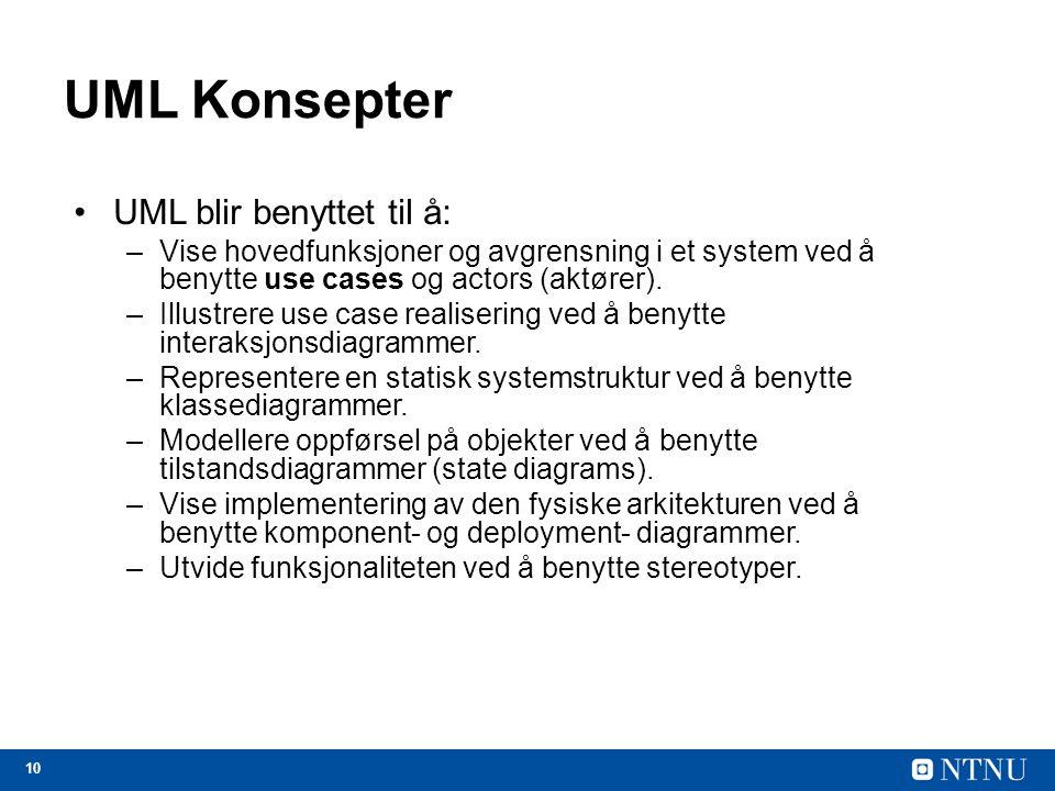 UML Konsepter UML blir benyttet til å: