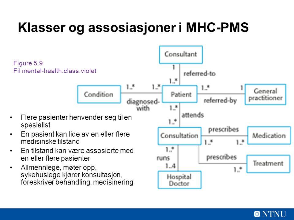 Klasser og assosiasjoner i MHC-PMS