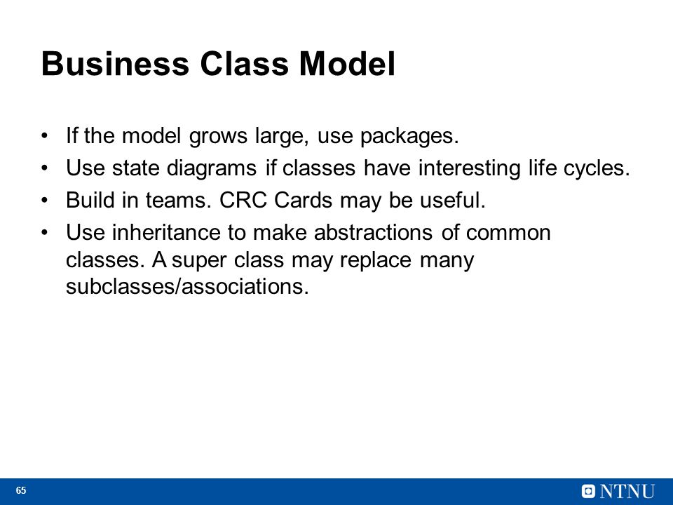 Business Class Model If the model grows large, use packages.