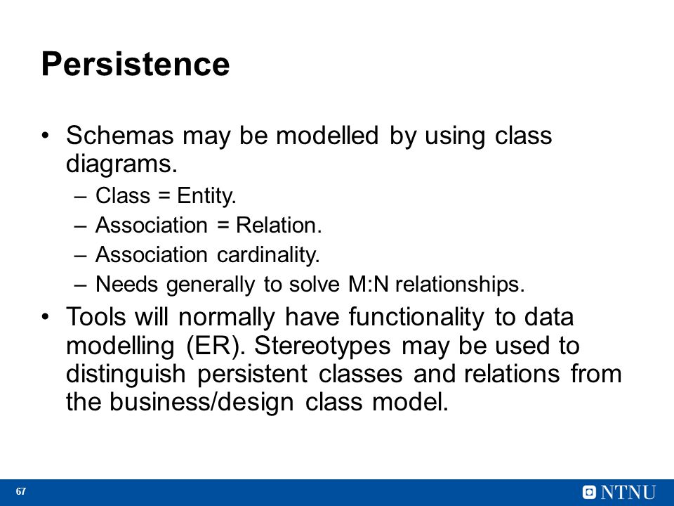 Persistence Schemas may be modelled by using class diagrams.