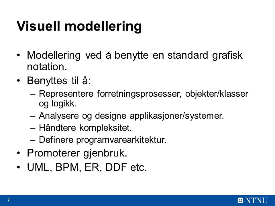Visuell modellering Modellering ved å benytte en standard grafisk notation. Benyttes til å: