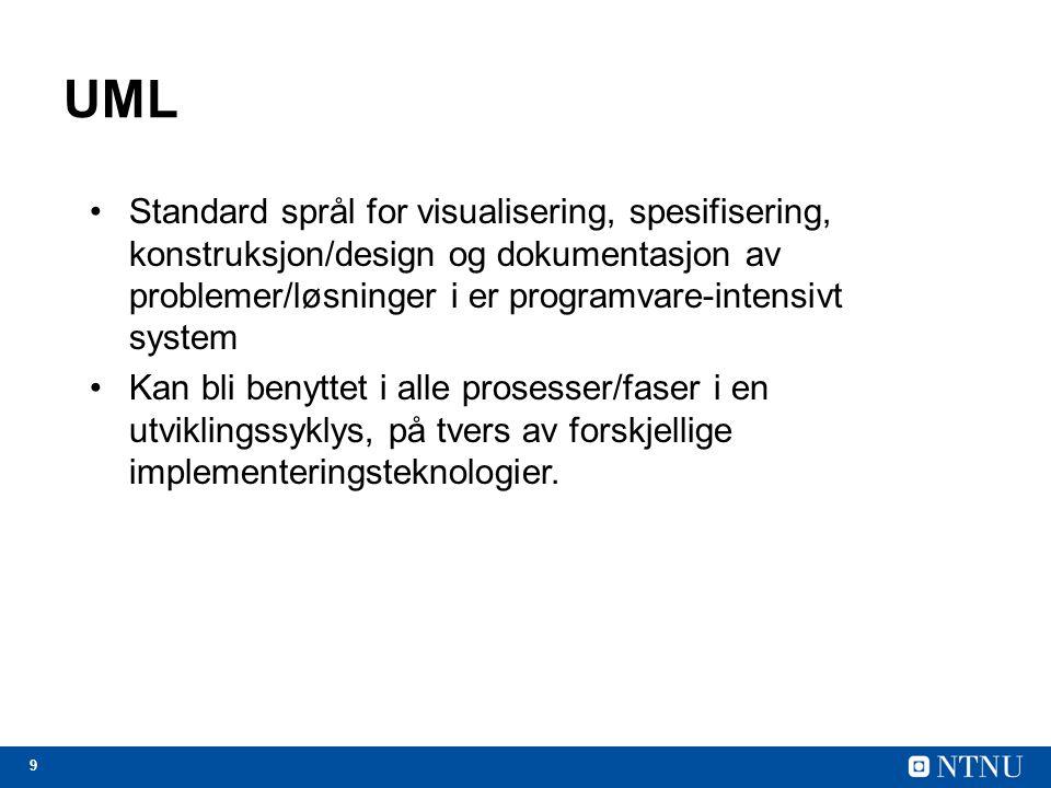 UML Standard språl for visualisering, spesifisering, konstruksjon/design og dokumentasjon av problemer/løsninger i er programvare-intensivt system.