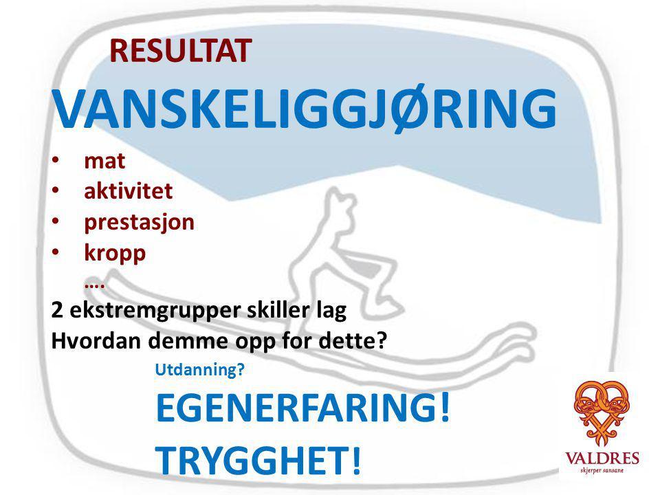 VANSKELIGGJØRING EGENERFARING! TRYGGHET! RESULTAT mat aktivitet