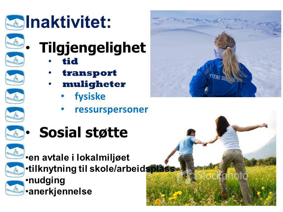 Inaktivitet: Tilgjengelighet Sosial støtte fysiske ressurspersoner tid