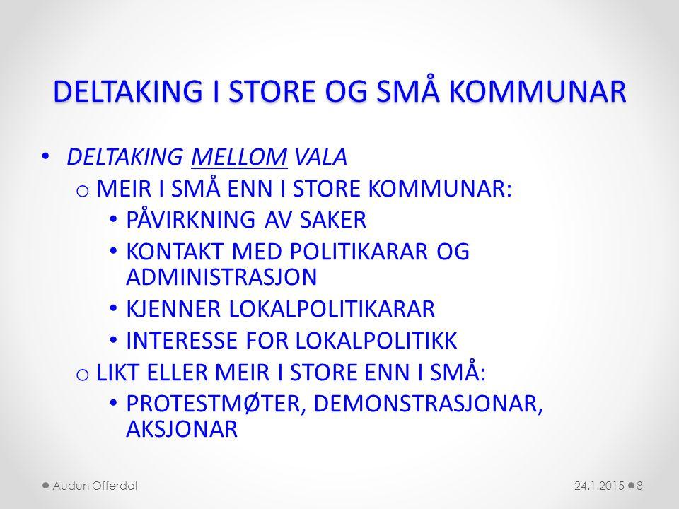 DELTAKING I STORE OG SMÅ KOMMUNAR