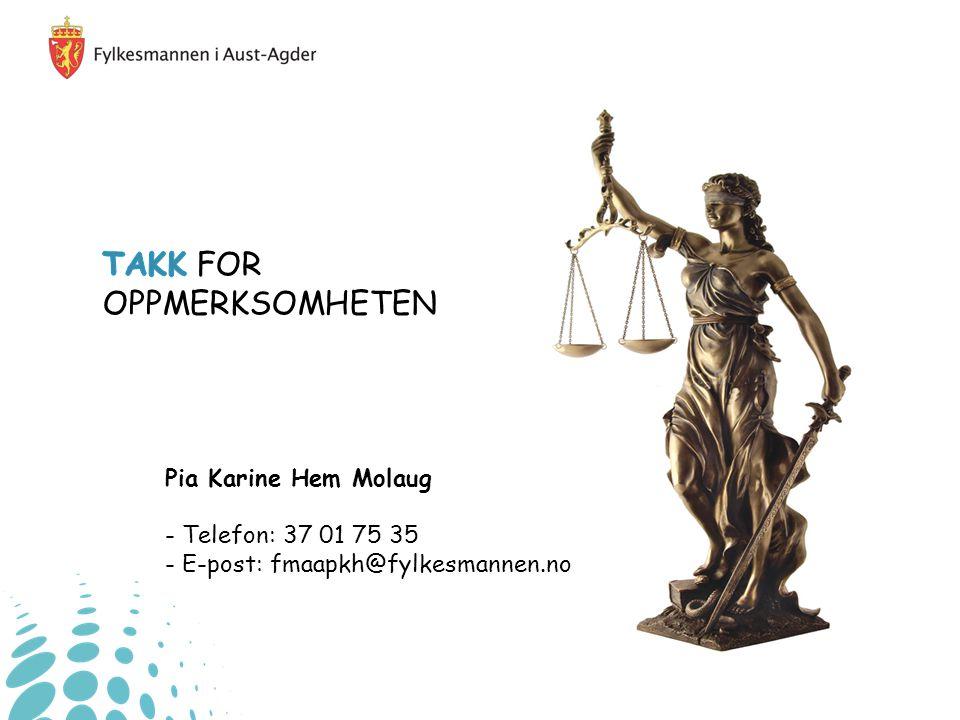 TAKK FOR OPPMERKSOMHETEN Pia Karine Hem Molaug - Telefon: 37 01 75 35