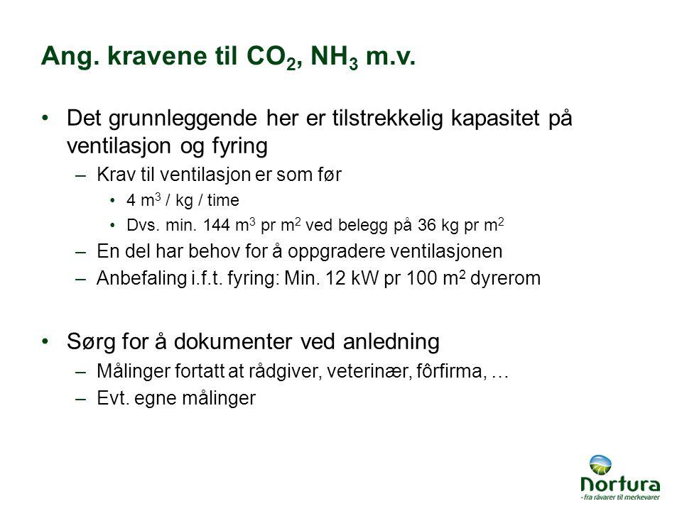 Ang. kravene til CO2, NH3 m.v. Det grunnleggende her er tilstrekkelig kapasitet på ventilasjon og fyring.