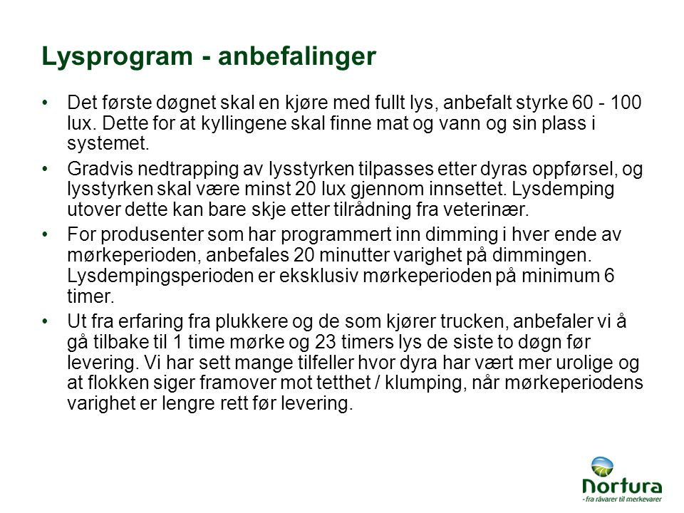 Lysprogram - anbefalinger