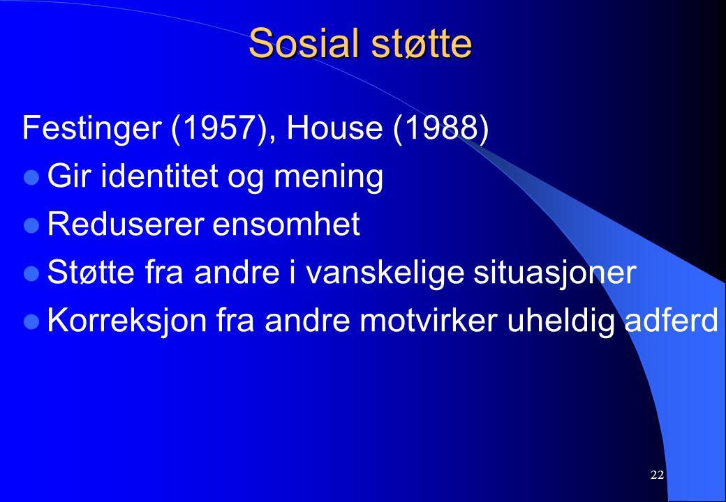Sosial støtte Festinger (1957), House (1988) Gir identitet og mening