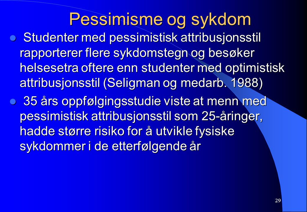 Pessimisme og sykdom