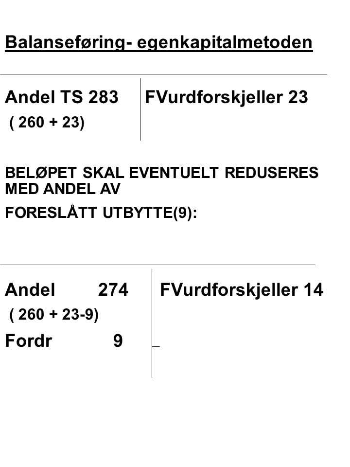 Balanseføring- egenkapitalmetoden Andel TS 283 FVurdforskjeller 23