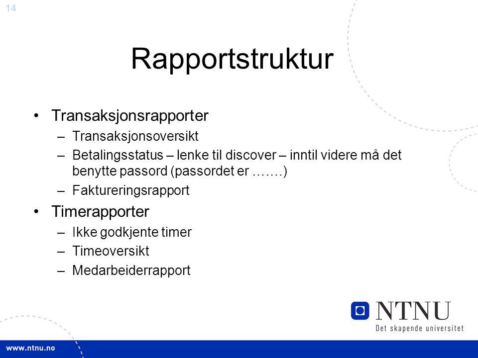 Rapportstruktur Transaksjonsrapporter Timerapporter