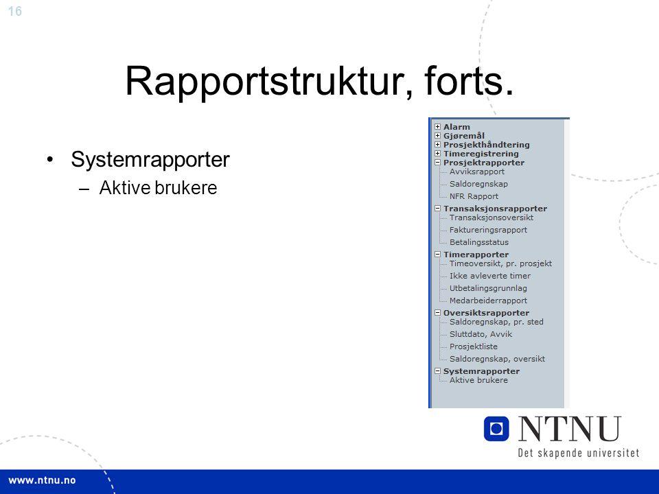 Rapportstruktur, forts.