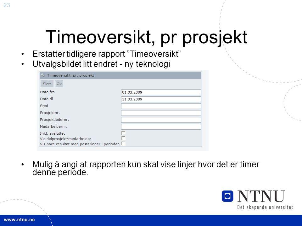 Timeoversikt, pr prosjekt