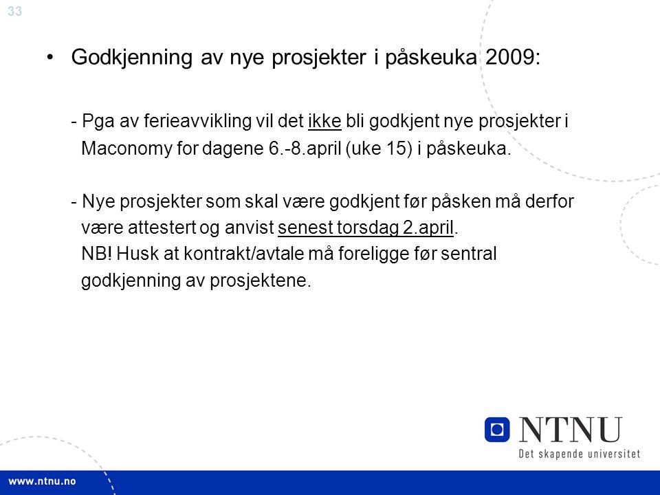 Godkjenning av nye prosjekter i påskeuka 2009: